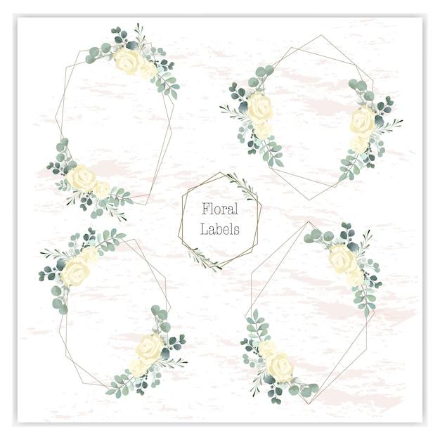 Blank wreath frame with green eucalyptus Premium Vector