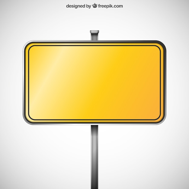 Blank yellow sign Free Vector
