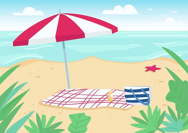 Одеяло и зонтик от солнца на песчаном пляже плоской цветовой иллюстрации. полотенца, сумки и солнцезащитные средства для солнечных ванн. летний отпуск. берег моря 2d мультфильм пейзаж с водой на фоне Premium векторы