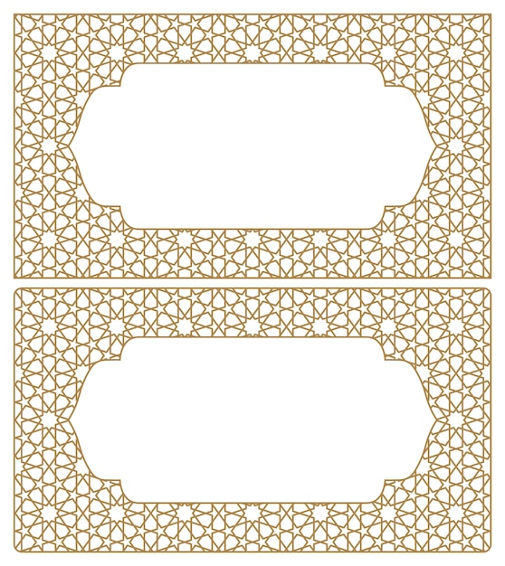 Blanks for business cards. arabic geometric ornament.proportion 90x50. Premium Vector