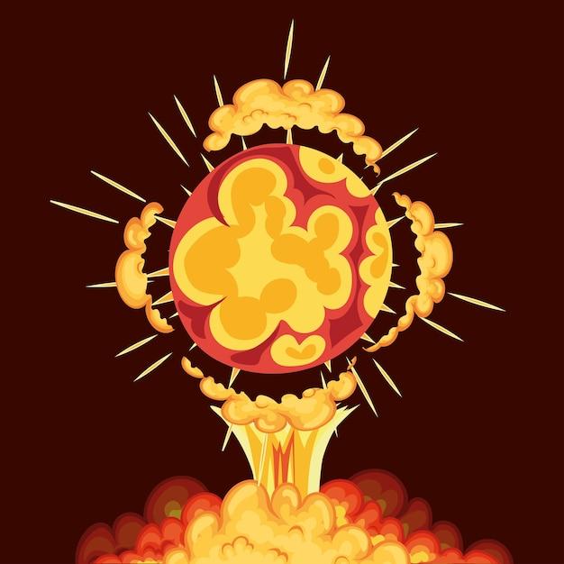 Взрыв в виде круга с облаками желтого цвета вокруг него на красном фоне. Premium векторы