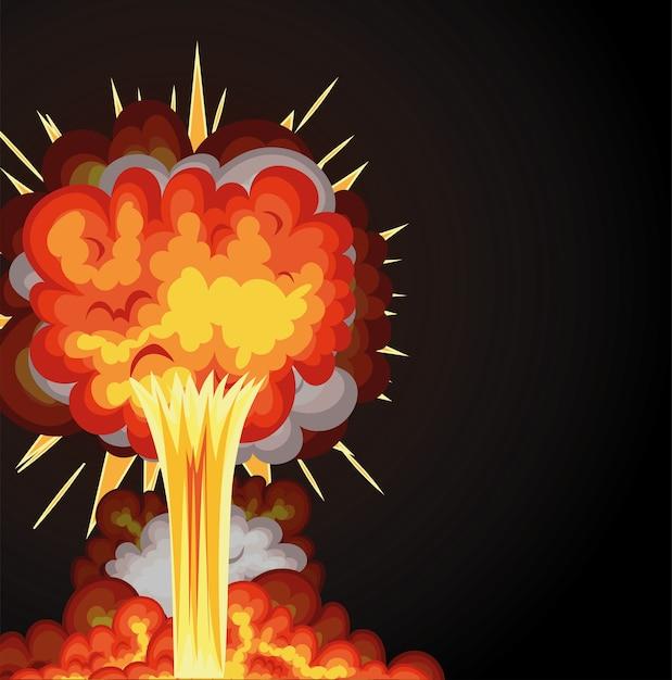 Взрыв огненными облаками оранжевого цвета на черном фоне. Premium векторы