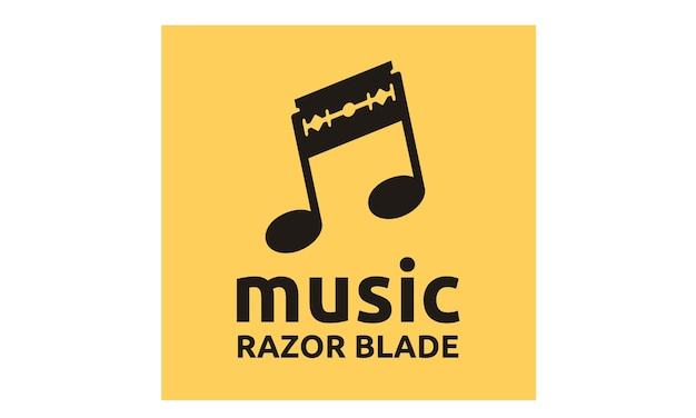 Музыкальные ноты и дизайн логотипа blazor blade Premium векторы