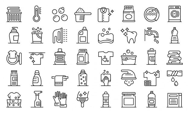 Bleach icons set, outline style Premium Vector