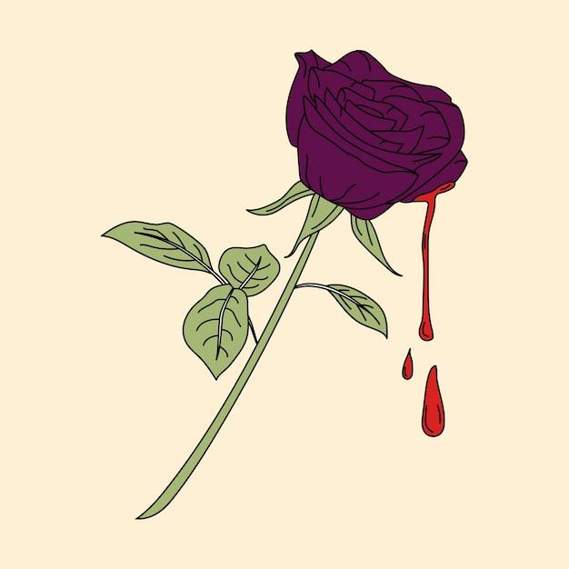 Bleeding purple rose sticker vector Free Vector