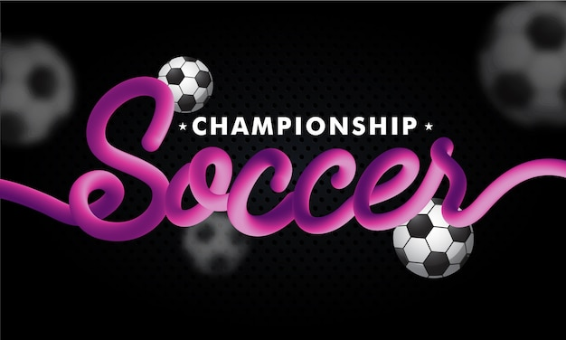 Blend text soccer with footballs on black background for champio Premium Vector
