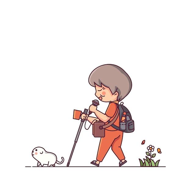 Слепой человек и собака Premium векторы