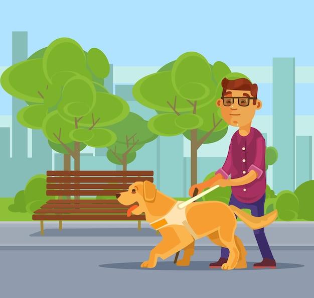 盲導犬のキャラクターと一緒に歩く盲導犬のキャラクター。フラット漫画イラスト Premiumベクター