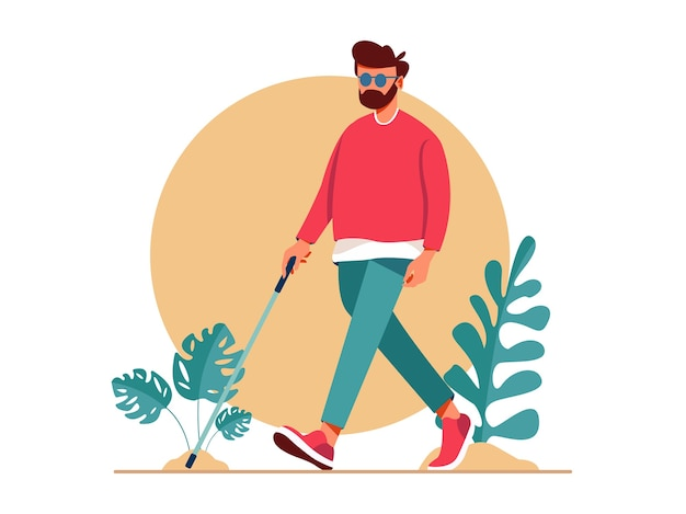 Blind man walking with stick. disabled people living active life Premium Vector