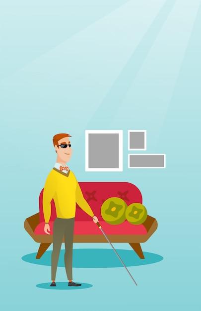 スティックのベクトル図と盲目の男。 Premiumベクター