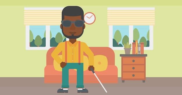 棒で盲目の男。 Premiumベクター