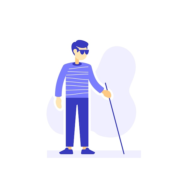 Blind man with sunglasses and cane walking, flat illustration Premium Vector