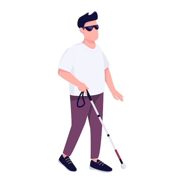Blind man with walking cane flat color faceless character. disabled young male person with stick strolling alone isolated cartoon illustration for web graphic design and animation Premium Vector