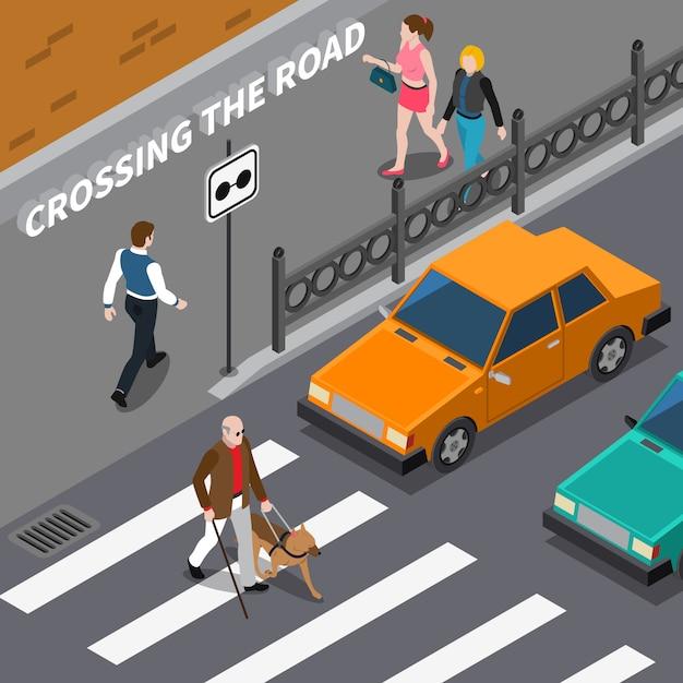 Blind person on crosswalk isometric illustration Free Vector
