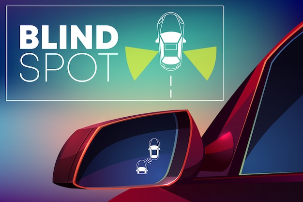 Blind spot assist cartoon concept. danger warning alert visual signal icon Free Vector