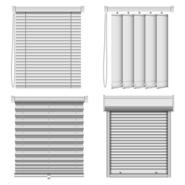 Blind window curtains mockup set Premium Vector