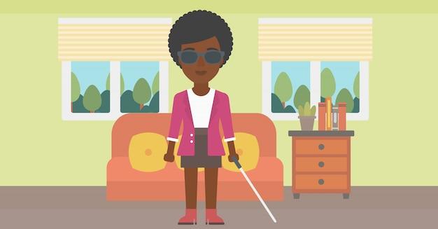 棒で盲目の女性。 Premiumベクター