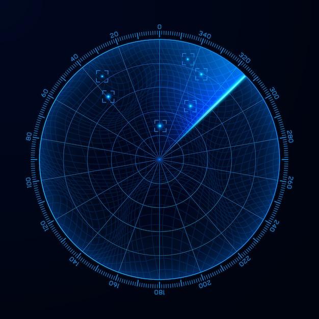 ブリップ。 hudインターフェース要素レーダー。レーダー画面上のターゲット検出。 Premiumベクター