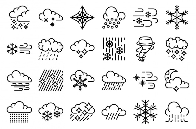 Blizzard icons set, outline style Premium Vector