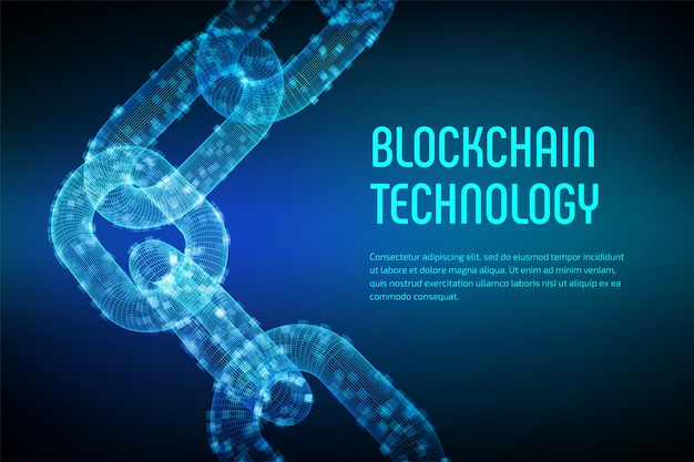 Block chain. crypto currency. blockchain concept. 3d wireframe chain with digital blocks. editable cryptocurrency template. stock vector illustration. Premium Vector