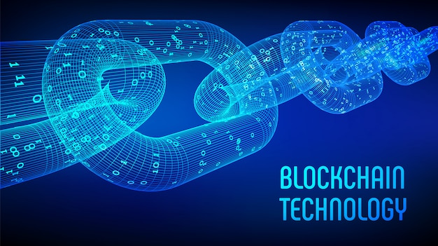 Block chain. crypto currency. blockchain concept. 3d wireframe chain with digital code. editable cryptocurrency template. stock vector illustration. Premium Vector