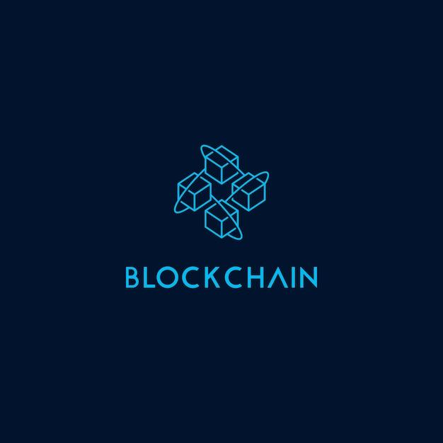 Block chain icon logo template Premium Vector