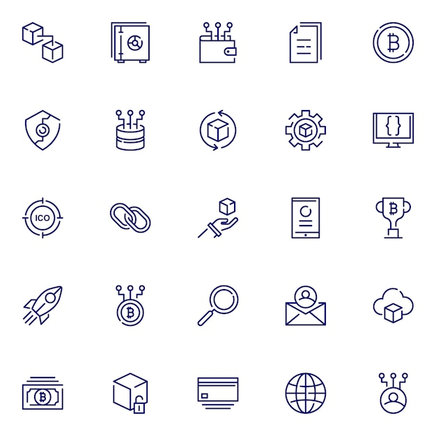 Block chain icon pack, with outline icon style Premium Vector