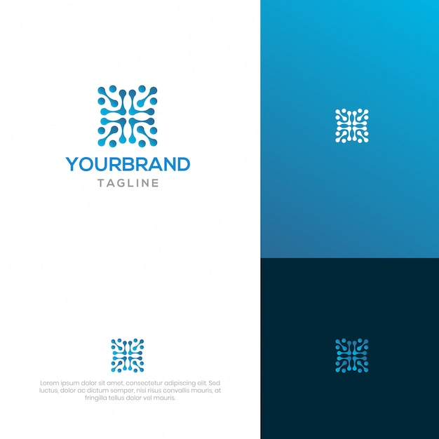 Block chain logo design Premium Vector
