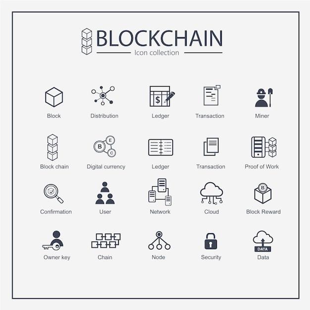 Block chain web outline icon collection set Premium Vector