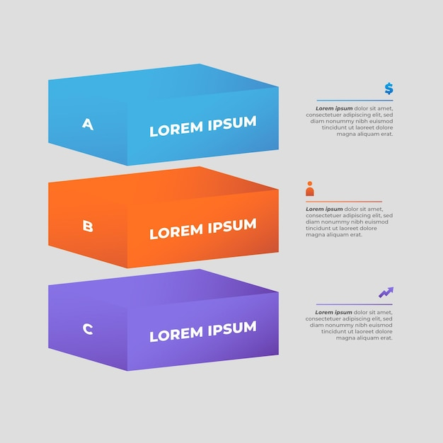 Block layers infographic template Free Vector