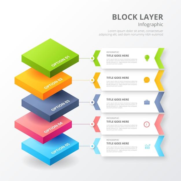 인포 그래픽 용 블록 레이어 템플릿 무료 벡터