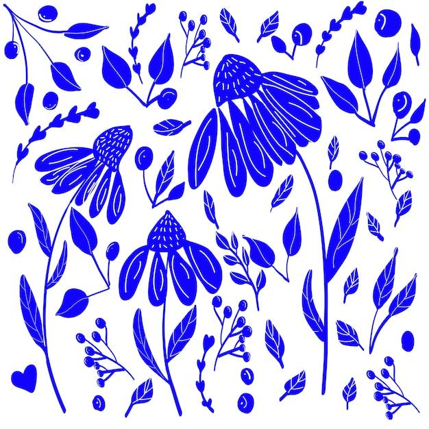 Block print style blue flowers Premium Vector