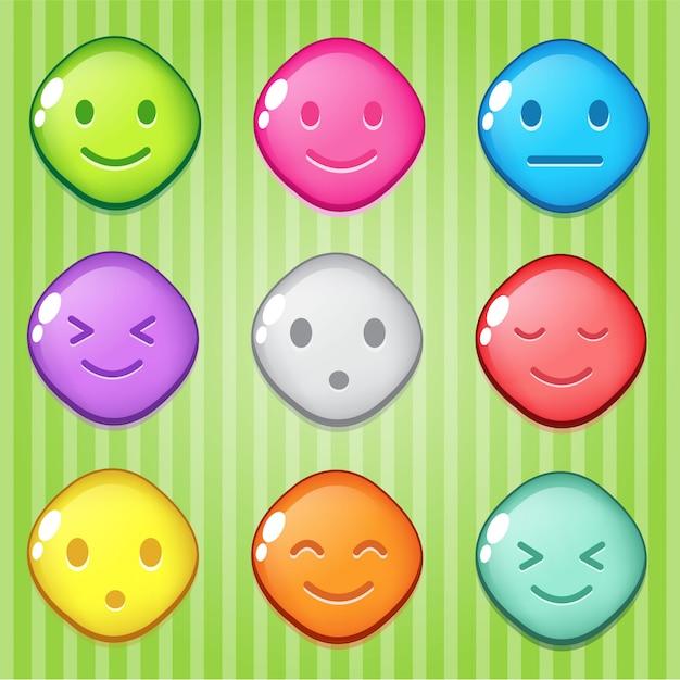 Block puzzle colorful shape diamond button glossy jelly. Premium Vector