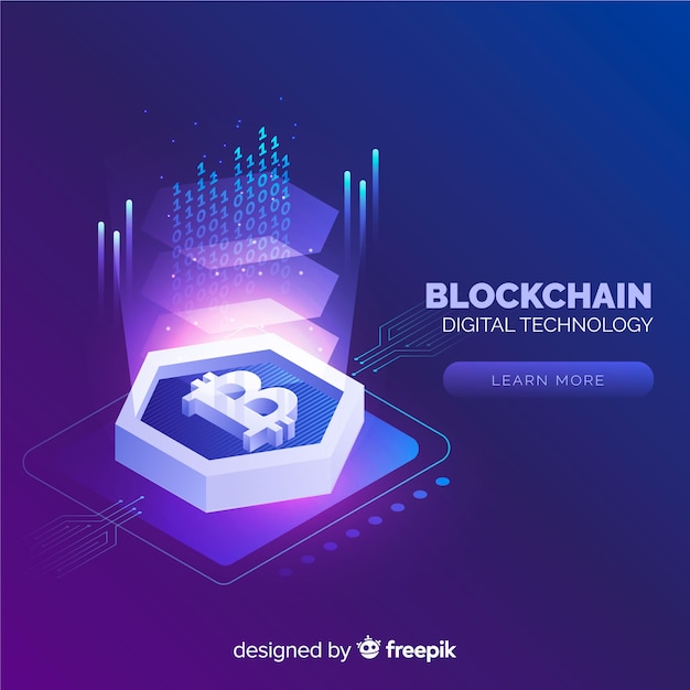 Blockchain background in isometric style Free Vector