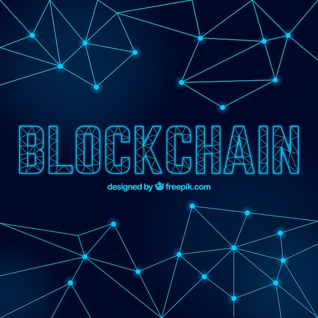 Blockchain background with dots and lines Free Vector