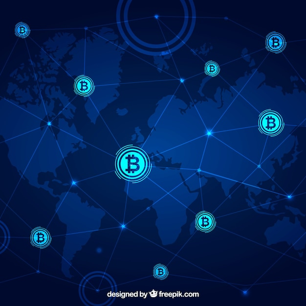 Blockchain background with world map Free Vector
