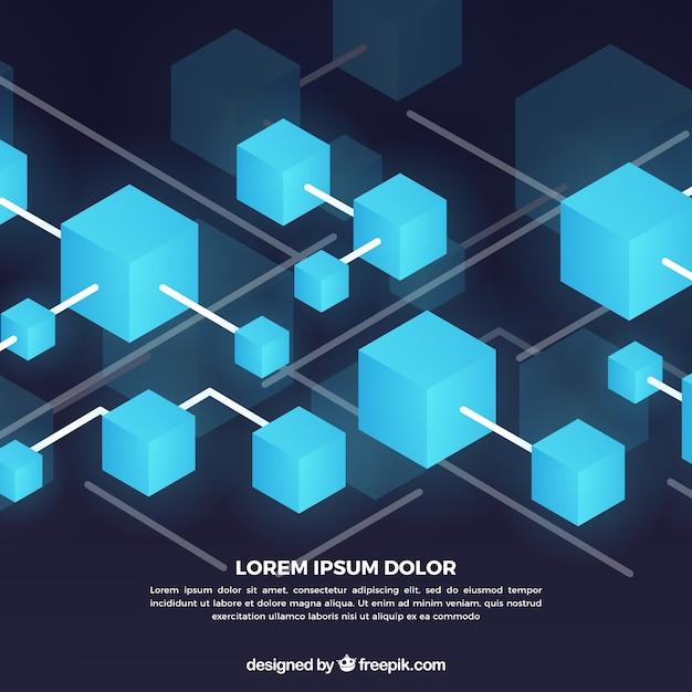 Blockchain background Free Vector