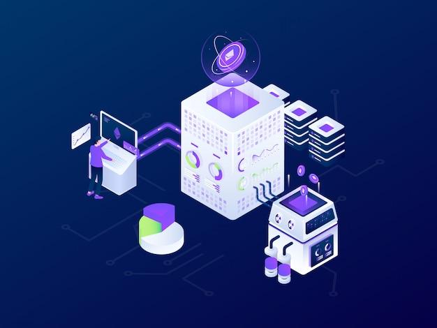 Криптовалюта blockchain bitcoin mining футуристический изометрические векторная иллюстрация дизайн Premium векторы