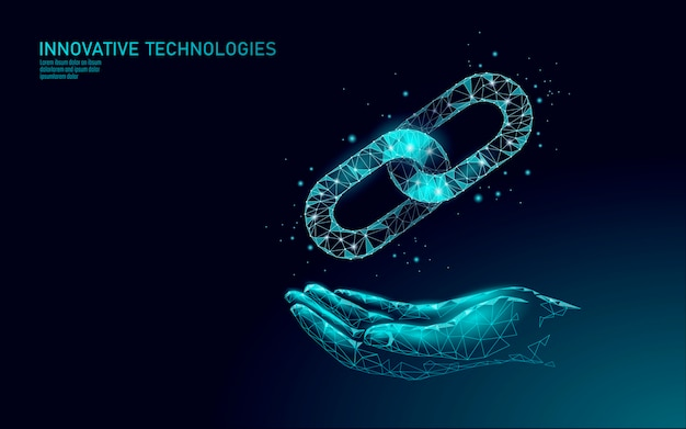 Blockchain business symbol concept. chain connection network finance information security.   . global technology e-commerce online Premium Vector