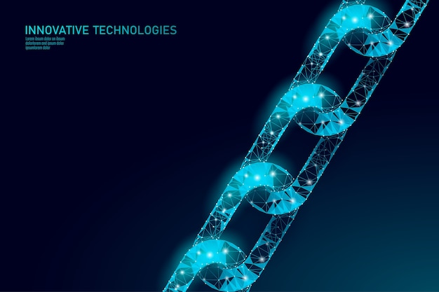 Blockchain business symbol concept. chain connection network finance information security.   . global technology e-commerce online Premium Vector