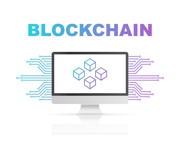 Blockchain on computer screen, connected cubes on the display. symbol of database, data center, cryptocurrency and blockchain Premium Vector