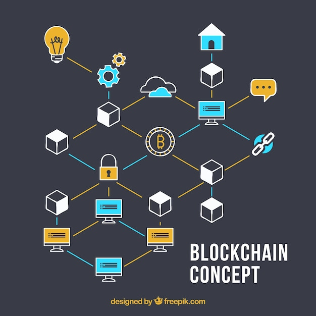Blockchain concept background Free Vector