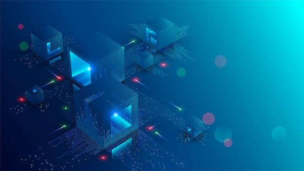 Blockchain concept banner Premium Vector