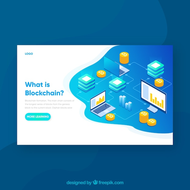 Blockchain concept for landing page Free Vector