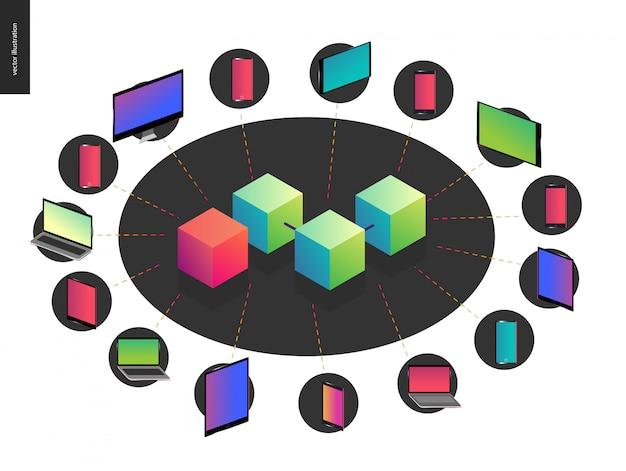 Blockchain concept vector illustration Premium Vector