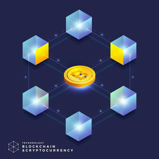 Blockchain and crypotocurrency Premium Vector
