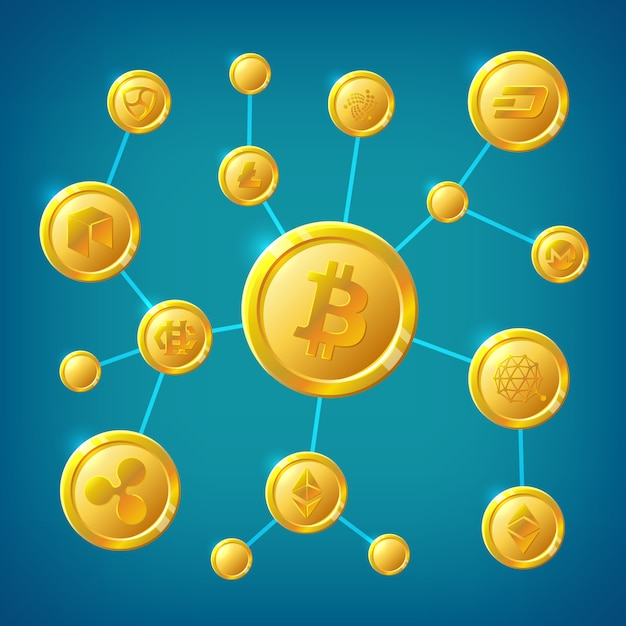 Blockchain, cryptocurrency and bitcoin decentralization anonymous internet transaction vector concept Premium Vector