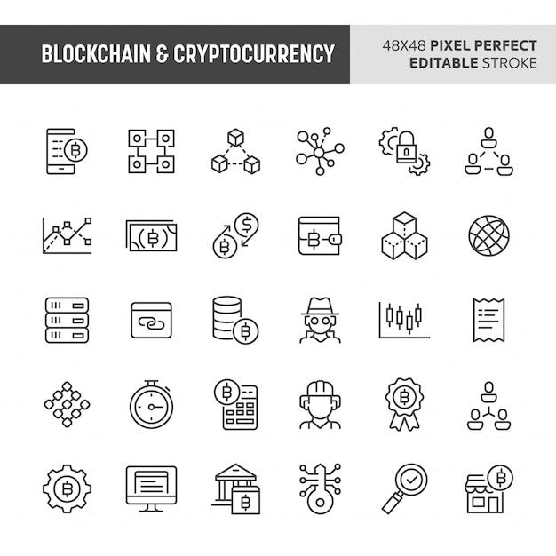 Blockchain & cryptocurrency  icon set Premium Vector