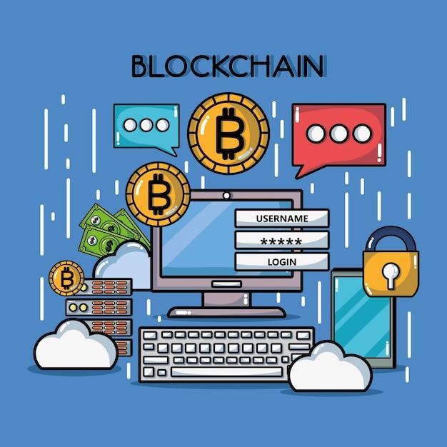 ブロックチェーンのデジタルセキュリティ技術 Premiumベクター