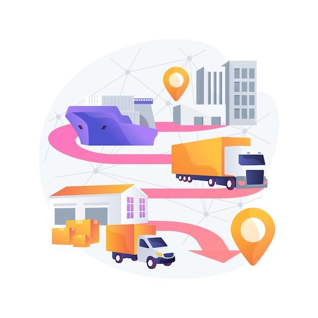 輸送技術の抽象的な概念図のブロックチェーン 無料ベクター